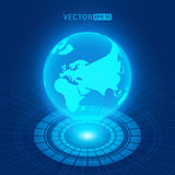 Holographic globe with continents Royalty Free Stock Images