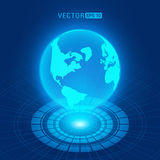 Holographic globe with continents Royalty Free Stock Photography