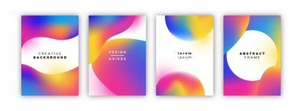 Holographic gradient background template set stock images