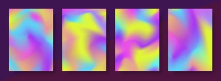 Holographic gradient cover design template set multicoloured background. For packaging, brochure, collage, wallpaper, poster, book, printing, billboard Stock Images