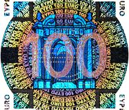 holographic hundra en lapp för sedeleuro Arkivfoton