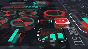 Holographic interface panel animation view 2 stock footage