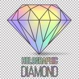 Holographic isolerad diamantsten för vektor Royaltyfri Foto