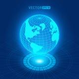 Holographic jordklot med kontinenter Royaltyfria Bilder