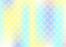 Holographic mermaid background with gradient scales. royalty free illustration