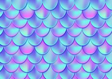 Holographic mermaid tail card or background. Mesh Gradient mermaid card for party. Mermaid card decor element. Fish skin magic ba royalty free illustration