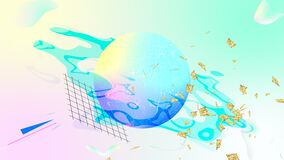 Holographic modern abstract looped animation. Seamless background in light neon pastel colors. Holographic modern abstract looped animation. Seamless gradient stock video footage