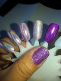 Holographic nail polish swatches. Holographic nail polish Stock Photography