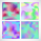 Holographic neon backgrounds set. Royalty Free Stock Images