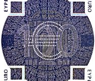 Holographic patch of one hundred Euro banknote. Hologram on the one hundred Euro banknote Stock Images
