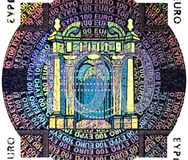 Holographic patch of one hundred Euro banknote. Hologram on the one hundred Euro banknote Stock Photography