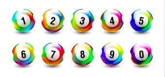 Vector Bingo Lottery Number Balls Set. Holographic Rainbow Balls isolated on white background Royalty Free Stock Photos