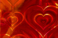 Holographic Red hearts Stock Images