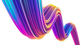 Holographic 90s style ultra violet fluid 3D shape for Christmas backgrounds and posters. Holographic ultra violet fluid 3D shape for Christmas backgrounds. 90s stock illustration