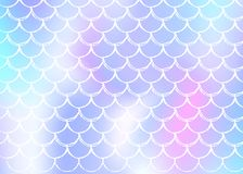 Holographic scale background with gradient mermaid. Bright color transitions. Fish tail banner and invitation. Underwater and sea pattern for girlie party stock illustration