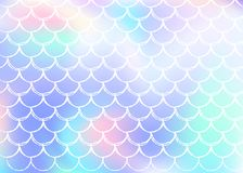 Holographic scale background with gradient mermaid. royalty free illustration