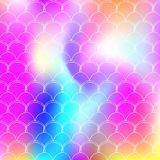 Holographic scale background with gradient mermaid. stock illustration