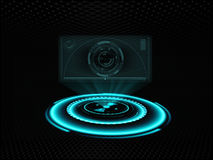 Holographic screen projection stock illustration