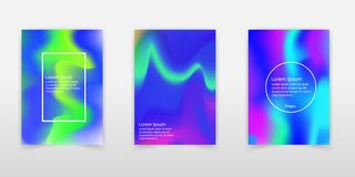 Holographic shapes backgrounds set. Applicable for gift card,cover,poster,brochure,magazine. Vector template stock illustration