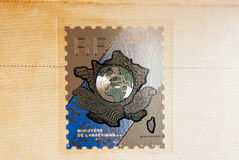 Holographic stamp on the official document of Ministry of Interi Royalty Free Stock Photo