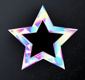 Holographic star on Black background Stock Images