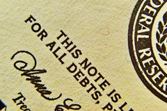 The star detail from dollar bill Royalty Free Stock Photography