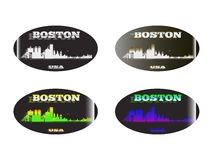 Holographic sticker Boston. Holographic sticker with the image of the city of Boston Stock Photos