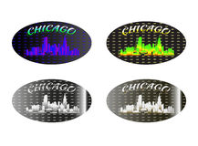 Holographic sticker Chicago. Holographic sticker with the image of the city of  Chicago Stock Photography