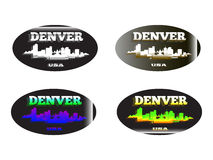 Holographic sticker Denver. Holographic sticker with the image of the city of  Denver Royalty Free Stock Photo