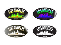 Holographic sticker Los Angeles. Holographic sticker with the image of the city of Los Angeles Stock Image
