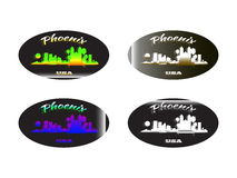 Holographic sticker Phoenix. Holographic sticker with the image of the city of Phoenix Stock Images