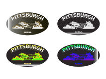 Holographic sticker Pittsburgh. Holographic sticker with the image of the city of Pittsburgh Stock Images