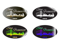 Holographic sticker San Francisco. Holographic sticker with the image of the city of San Francisco Royalty Free Stock Photo