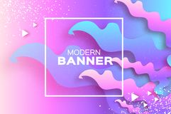 Holographic wave background in paper cut style. Origami Layered shapes composition. Dynamic line. Space for text. Square royalty free illustration