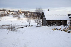 Holoholnya village in Russia in winter time. Royalty Free Stock Photography