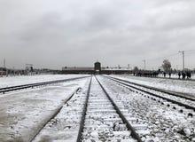 Holokaust Pamiątkowy Auschwitz, Birkenau, Polska w zimie - zdjęcia stock