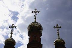 Holosievskaya Pustyn, Kiew Kyiv, Ukraine Klosterkloster, Kirche, Tempel des orange Ziegelsteines Stockbilder