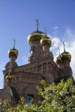 Holosievskaya Pustyn, Kiew Kyiv, Ukraine Klosterkloster, Kirche, Tempel des orange Ziegelsteines Lizenzfreies Stockbild