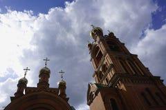 Holosievskaya Pustyn, Kiew Kyiv, Ukraine Klosterkloster, Kirche, Tempel des orange Ziegelsteines Stockbild