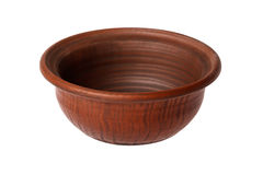 Holow clay bowl on a white background Royalty Free Stock Photography