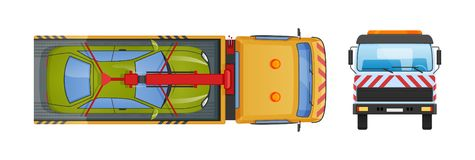 Holownicza ciężarówka z wyposażającym hydraulicznym manipulantem, podnośny żuraw z platformą ilustracja wektor