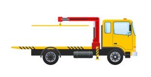Holownicza ciężarówka z wyposażającym hydraulicznym manipulantem, podnośny żuraw z platformą ilustracji