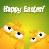 Holowniczy żółci śliczni kreskówek kurczątka życzy szczęśliwą wielkanoc Obraz Stock
