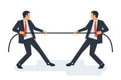 Holownika pojęcie Dwa biznesmena w kostiumach ciągną arkanę ilustracji