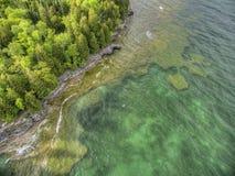Holpunt op Meer Michigan in Wisconsin stock foto's