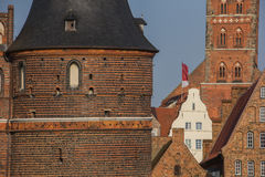 Holstein gate and salt storehouses in Lubeck Stock Photo