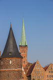 Holstein gate, salt storehouses and Petri church in Lubeck Stock Photo