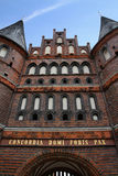 Holsten Gate of the beautiful city of Lubeck Royalty Free Stock Photography