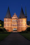 Holsten Gate, Lübeck, at night Royalty Free Stock Photo