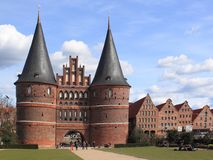Holsten Gate in Lubeck Stock Images